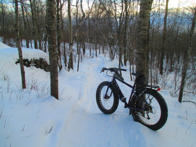 Snowy singletrack at sunset 002