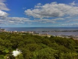 The view looking east over downtown Duluth, the Harbor and Lake Superior from Enger Tower.
