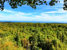 Tower Overlook with a view of Lake Superior in the distance. On a really clear day you can see the Apostle Islands and the Bayfield Peninsula of Wisconsin across the lake.